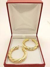 18k Solid Yellow Gold Italian Polished/Matte Twined Hollow Hoop Earrings 7.34Grs