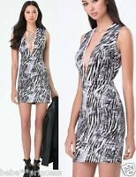 NWT bebe black white gray deep v neck bodycon zebra print top dress XS 0 2 party