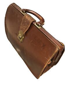 VINTAGE Retro LEATHER SATCHEL Manuscript Doctors Document Bag Brown Handbag