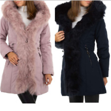 Cappotto donna giacca giubbino invernale trench bomber con pelliccia lungo nero