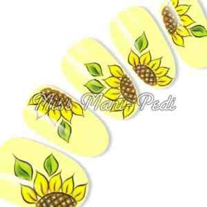Sunflower Nail Decals, Water Decals, Nail Stickers, Transfers, Nail Art G068