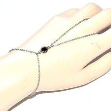 Chaîne de main bracelet bague acier inoxydable cristal bordeaux bijou