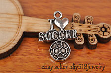 10s 22mm charm i love soccer pendant DIY Jewelry Bead Bracelet Tibet Silver 7247