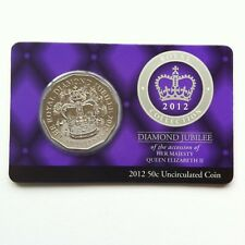 2012 RAM UNC 50c ROYAL COLLECTION DIAMOND JUBILEE COIN ON CARD