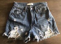 KanCan High Rise Waist Jeans Denim Shorts Distressed Size Small