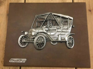 Ford mod T Car 1908 3D Art Brown Leather Metal Wall Plaque Canvas Man cave Ital
