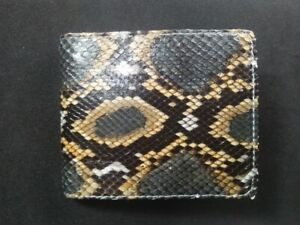 FREE SHIPPING Genuine Python Snakeskin Leather Mens Bifold Wallet Multicolor #02