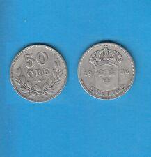 § Suède Sweden  Silver Coin 50 öre en Argent 1936 G