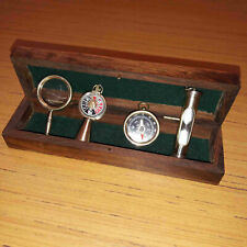 Sand Timer Ship Telegraph Compass Magnifying Glass Gift With Wooden Box