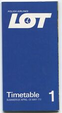 LOT POLISH AIRLINES SUMMER 1 TIMETABLE APRIL - MAY 1977 POLAND