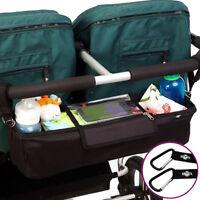 BTR Double Stroller Organizer Bag PLUS 2 x Stroller Hooks. Stroller Accessory