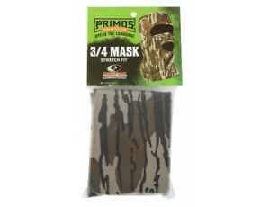 New Primos Stretch-Fit Face 3/4 Mask Mossy Oak Bottomland Camo Model