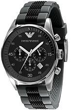 Emporio ARMANI Herren Chronograph Sportuhr Schwarz Silikon Armband ar5866