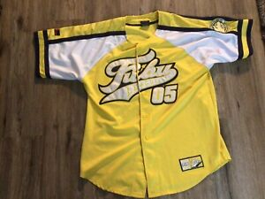 FUBU Sports Classic Collection05 Baseball Jersey Men L Yellow Button Down