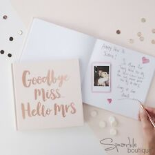 'GOODBYE MISS.. HELLO MRS' ADVICE BOOK -Hen Night Guest Book - Pink / Rose Gold