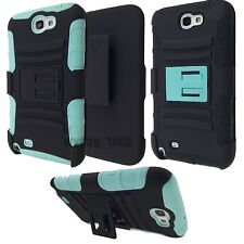 Samsung Galaxy Note 2 Hybrid Case Rugged Holster Shockproof Cover Black Mint