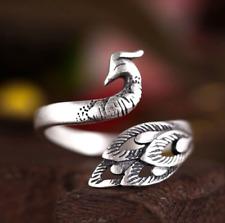 Elegant Peacock Ring ~ Adjustable Animal Silver Bird Ring