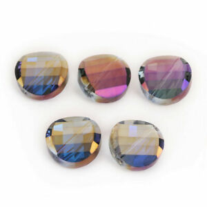 Faceted Round 14mm DIY Finding Jewelry Flat Spacer Beads Crystal 10PCS Glass