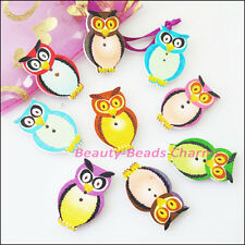 12Pcs Mixed Wood Wooden Owl Two Holes Buttons Scrapbooking / Sewing 20x32mm