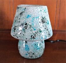 Blue Mosaic Glass Table Lamp 25W One Light UL Corded Electric