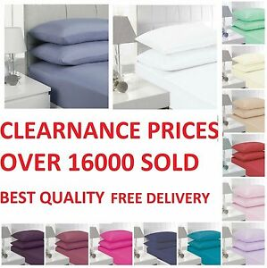 """180 THREAD COUNT EXTRA DEEP FITTED 16""""/40 CM & FITTED 10""""/26 CM SHEETS ALL SIZES"""