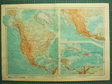 1955 LARGE RUSSIAN MAP ~ NORTH AMERICA CANADA UNITED STATES MEXICO CUBA JAMAICA