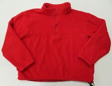 J Crew Red 1/4 Zip Fleece Large Pullover Jacket Womens Made In USA