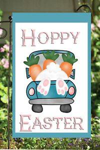 Hoppy Easter Bunny Truck  Double Sided Soft Flag  **GARDEN SIZE**  G1490