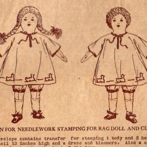 1910's Rag Doll & Clothes Butterick 10192 Antique Transfer Pattern