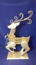 18� Glittered Gold Tone Metal & Wire Christmas Holiday Reindeer Euc