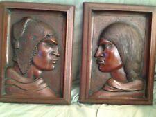 VINTAGE MID CENTURY ARIAS WOOD CARVED AYMARA PEOPLE MAN AND WOMAN PLAQUES NUMBER