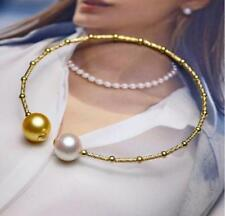 """7.5-8""""  AAA 8-9mm real natural south sea white golden pearl bracelet 18k"""