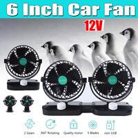 Car Fan 6'' 12V 2 Speed Truck Double Head Shaking Head Caravan Cool Air  q@^ ✔