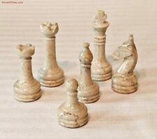 SEMI-PRECIOUS GEMSTONE CHESS MEN - BOTTICINO CREAM MARBLE BLACK AGATE SET (A370)