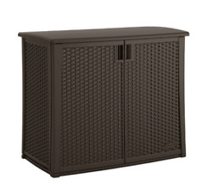 Suncast 97-Gal. Outdoor Resin Patio Wicker Storage Box Cabinet Java NEW