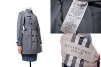 Women's BURBERRY BRIT Double Breasted Belted Trench Coat Metal Plaid Size USA 8