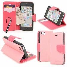 Pink Italian Design PU Leather Wallet Stand Case For Apple iPhone 5C