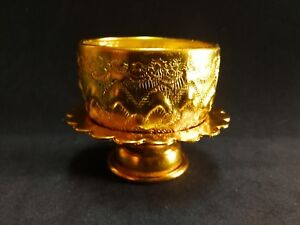 Small Gold Color Bowl &Tray Water For Drinking Thai Antique Tradition Vintage