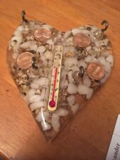 1979 Glass Heart w/ thermometer & Pennies Key Holder -souvenir  Las Vegas