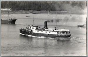 "1950s Victoria BC Canada Steamship RPPC Photo Postcard Ship Steamer ""Cheakamus"""