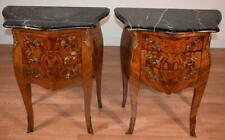 1910s Antique French Louis XV Walnut Marble top pair Nightstands bedside tables