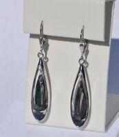 Echt 925 Sterling Silber Ohrringe Ohrhänger Zirkonia Oval 50 mm Hochzeit Nr 239