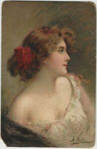 Old Angelo Asti Pretty Girl Postcard