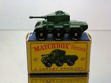 LESNEY MATCHBOX 67 SALADIN ARMOURED CAR - ARMY GREEN - VERY GOOD IN BOX