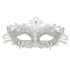 White Metal Lace Masquerade Mask | Venetian Silver Diamante Wedding Ball Mask