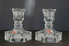 2 Fostoria Coin Glass Candlestick Holders - Frosted Avon 91st Anniversary 1977