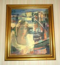 "Vtg Latvian Artist Anna Darzina Oil Painting in Frame 29"" x 25"" Lady Woman Face"