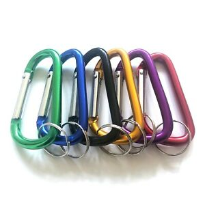 """12pc 3"""" Aluminum Carabiner D-Ring Key Chain Spring Snap Clip Hook Assorted Color"""