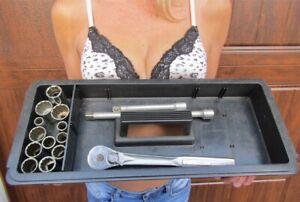 "Vtg Craftsman 15 Pc 1/2"" Drive 12 Pt Socket Set W/2 Extensions & Ratchet Wrench"