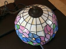 Vintage Stained Glass Lamp Beautiful Flowers Colorful